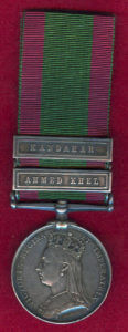 Second Afghan War Medal with clasps for Kandahar and Ahmed Khel: Battle of Ahmed Khel on 19th April 1880 in the Second Afghan War