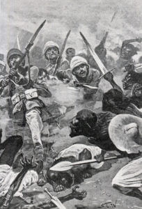 British Square at the Battle of Abu Klea on 17th January 1885 in the Sudanese War: print by Stanley L. Wood