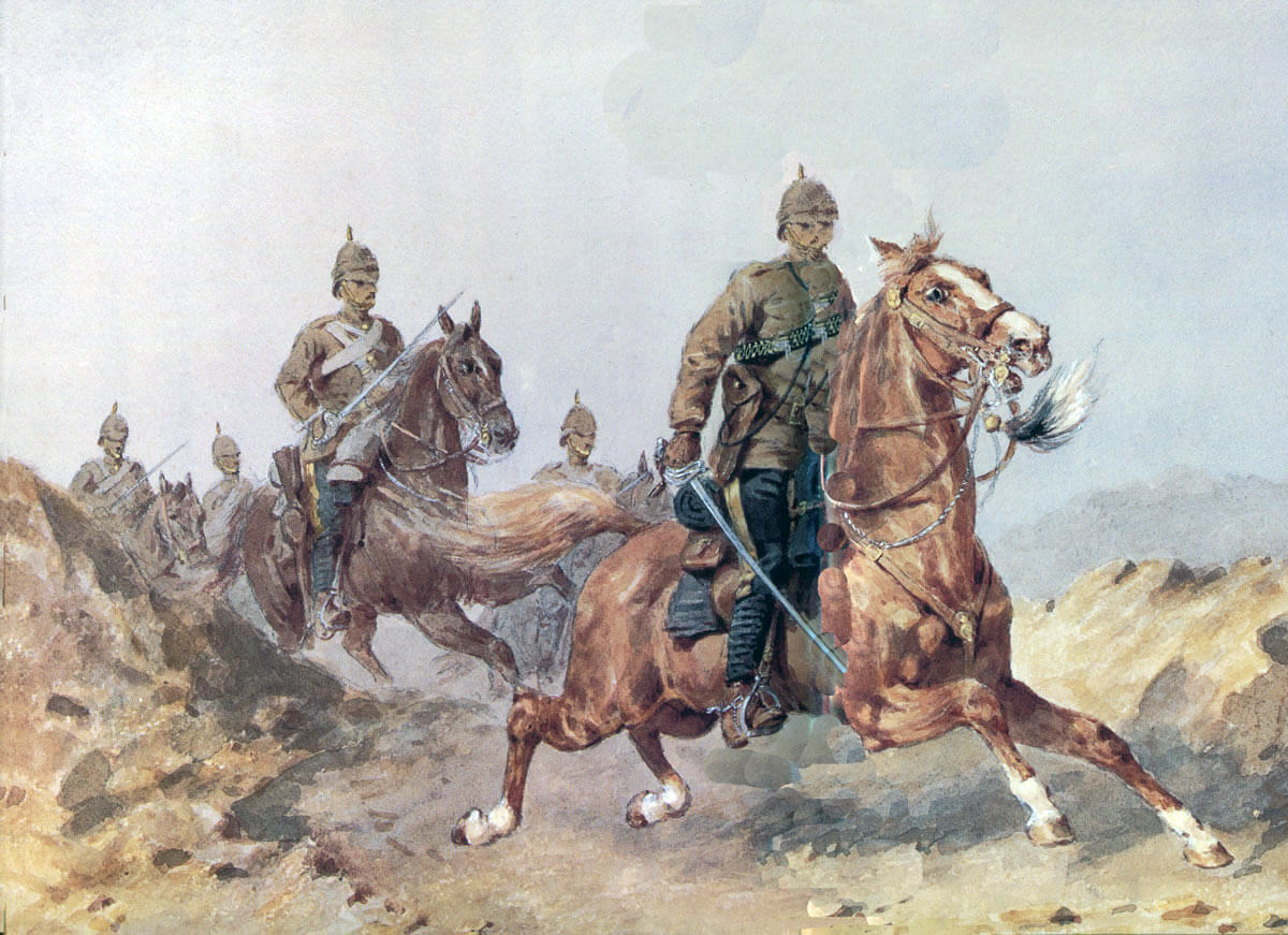 10th Hussars at the Battle of Ali Masjid on 21st November 1878 in the Second Afghan War: picture by Orlando Norie