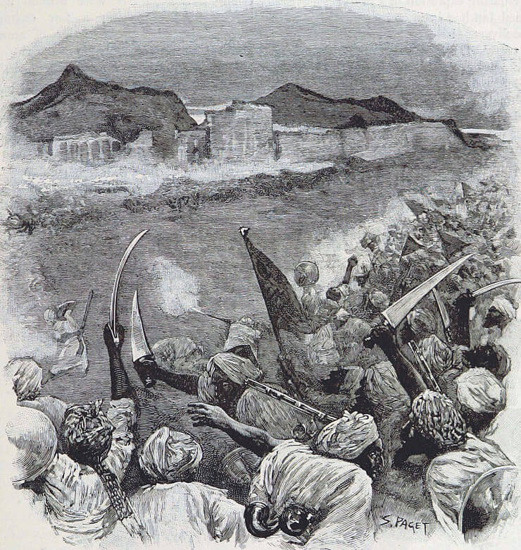 Afghan attack on the Sherpur Cantonment: Battle of Kandahar on 1st September 1880 in the Second Afghan War: print by S. Paget