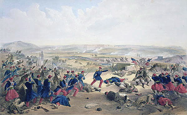 French, Turkish and Sardinian infantry driving back the Russians at the Battle of the Tchernaya on 16th August1855: Siege of Sevastopol September 1854 to September 1855