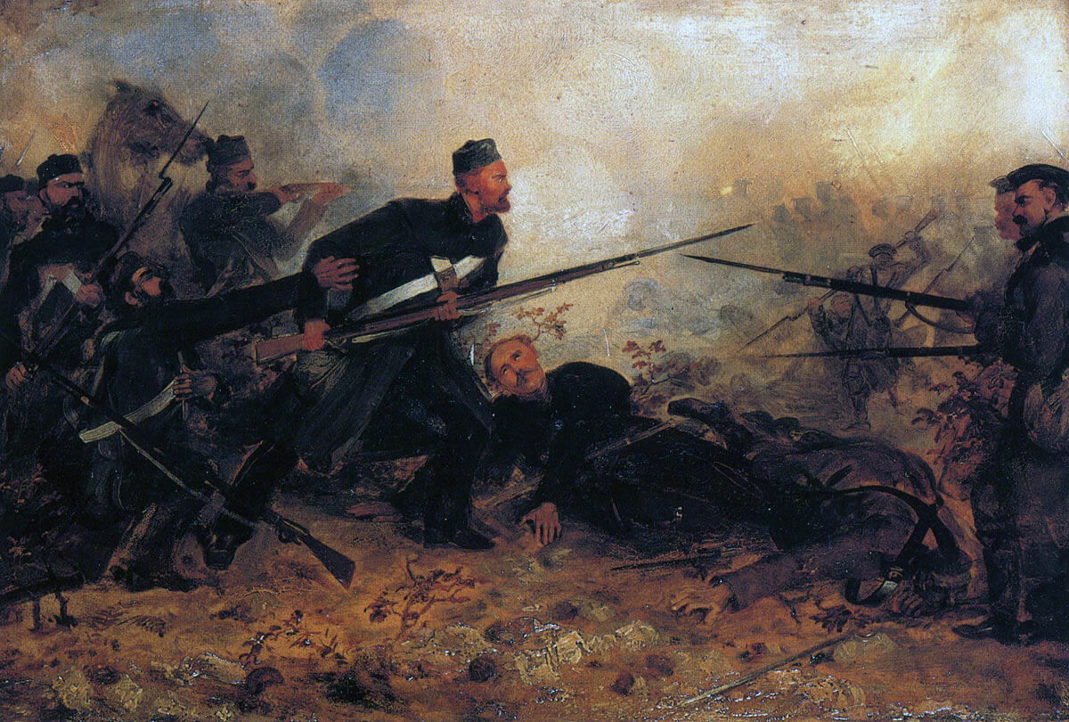 Private John McDermond of the 47th winning the VC by rescuing his CO at the Battle of Inkerman on 5th November 1854 in the Crimean War: picture by Louis Desanges