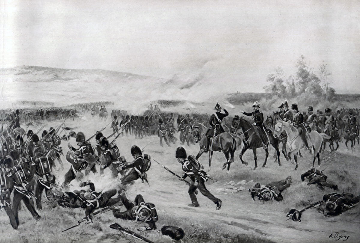 British Guards advancing at the Battle of the Alma on 20th September 1854 during the Crimean War: picture by Henri Dupray