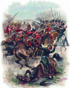 Inniskilling Dragoons in the Charge of the Heavy Brigade at the Battle of Balaclava on 25th October 1854 in the Crimean War: picture by Harry Payne