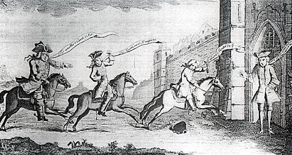 Contemporary print showing Sir John Cope arriving at Berwick to announce his defeat at Prestonpans: Battle of Prestonpans on 21st September 1745 in the Jacobite Rebellion