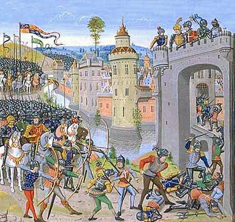 Attack by Henry V's army on Harfleur before the Battle of Agincourt on 25th October 1415 in the Hundred Years War