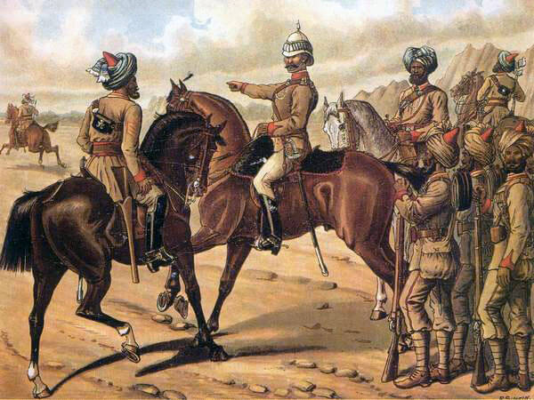 Queen's Own Corps of Guides: Battle of Futtehabad on 2nd April 1879 in the Second Afghan War: picture by Richard Simkin