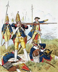 Prussian Grenadiers of the Guard in action at the Battle of Soor 30th September 1745 in the Second Silesian War