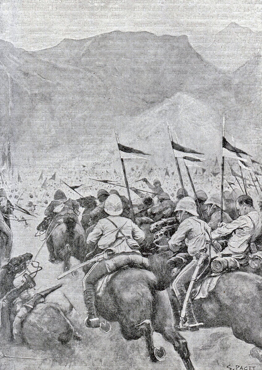 9th Lancers attacking at the Battle of Kabul December 1879 in the Second Afghan War: print by S. Paget