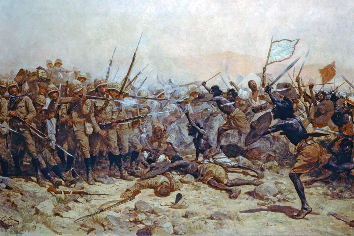 Mahdist attack on the British square at the Battle of Abu Klea on 17th January 1885 in the Sudanese War: picture by William Barnes Wollen
