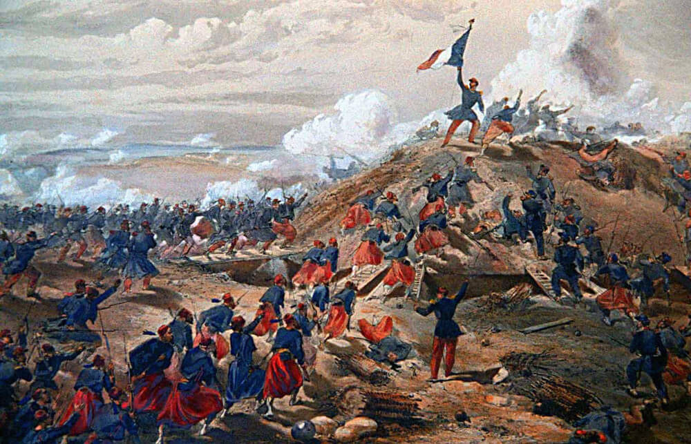 French troops storming the Mamelon on 7th June 1855: Siege of Sevastopol September 1854 to September 1855