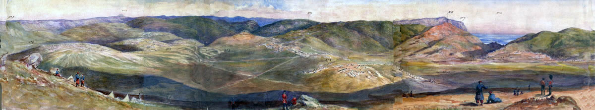 Panoramic view of the scene of the Charge of the Heavy Brigade in the Battle of Balaclava on 25th October 1854 in the Crimean War: water colour by Lieutenant Colonel Dawkins of the Coldstream Guards