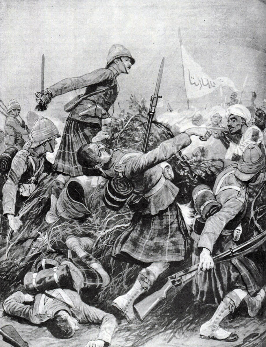 Seaforth Highlanders storming the Dervish zeriba at the Battle of Atbara on 8th April 1898 in the Sudanese War: print by Richard Caton Woodville
