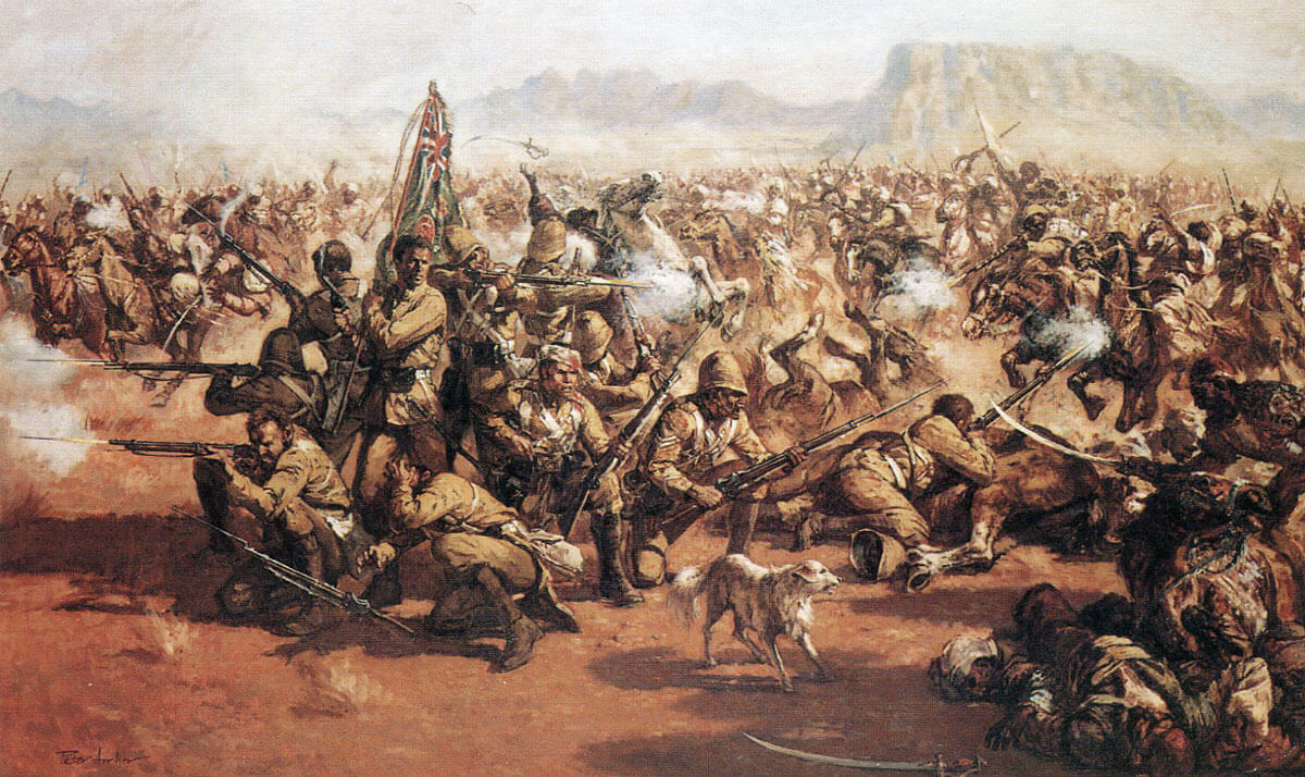 'The Eleven', the last stand of the 66th Regiment with Bobbie the dog at the Battle of Maiwand on 26th July 1880 in the Second Afghan War