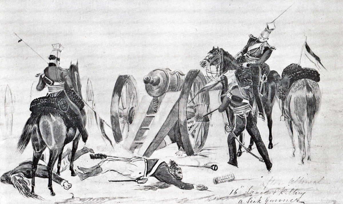 HM 16th Lancers killing Sikh gunners at the Battle of Aliwal on 28th January 1846 in the First Sikh War