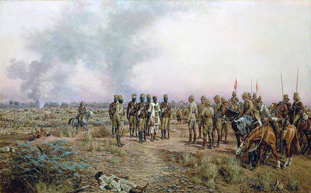 Emir Mahmud brought prisoner to General Kitchener, after the Battle of Atbara on 8th April 1898 in the Sudanese War