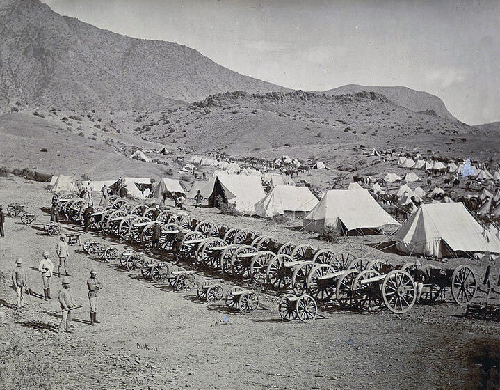 Captured Afghan guns after the Battle of Ali Masjid on 21st November 1878 in the Second Afghan War