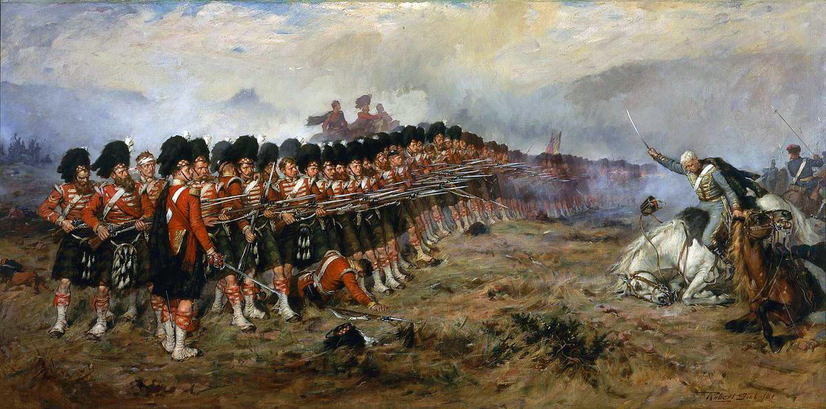 The Thin Red Line tipped with steel: 93rd Highlanders at the Battle of Balaclava on 25th October 1854 in the Crimean War: picture by Robert Gibb