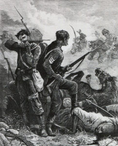 Soldiers of the 66th Regiment at the Battle of Maiwand on 26th July 1880 in the Second Afghan War
