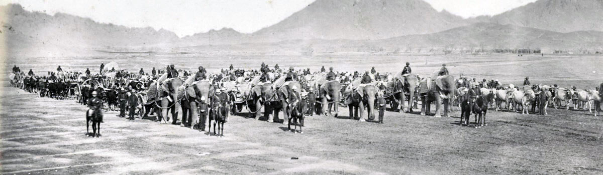 British elephant battery: Battle of Kabul December 1879 in the Second Afghan War
