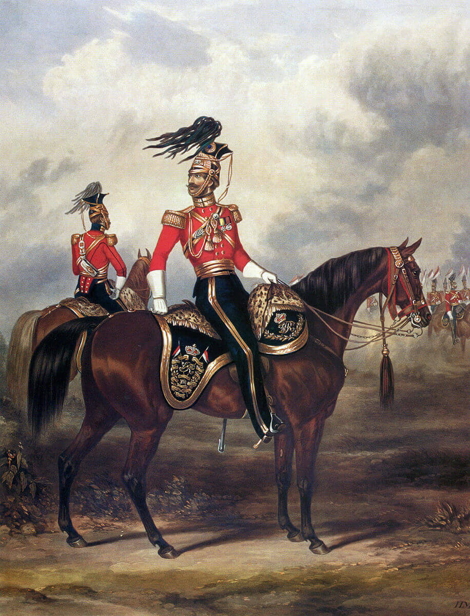 Major John Rowland Smyth, commanding officer of the 16th Queen's Lancers at the Battle of Aliwal on 28th January 1846 in the First Sikh War: print by Ackermann