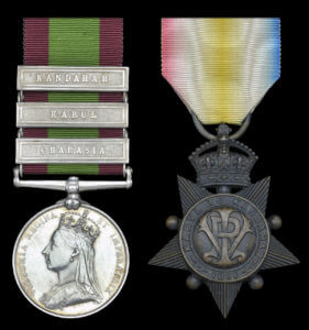 Second Afghan War medal with clasps for Kandahar, Kabul and Charasia and Kabul and Kandahar Star: Battle of Kabul December 1879 in the Second Afghan War