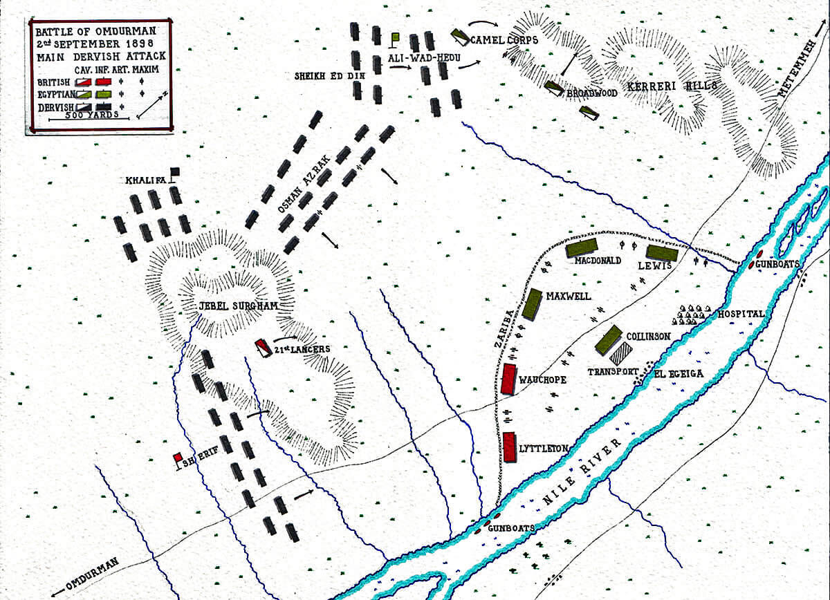 Map showing the Dervish attack at the Battle of Omdurman on 2nd September 1898: map by John Fawkes