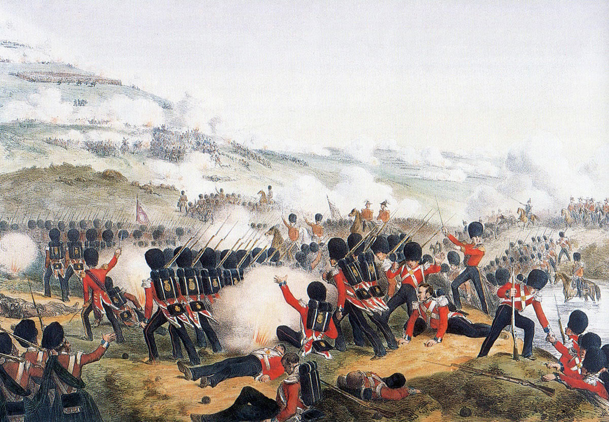 Grenadier Guards attack up the hill after crossing the river at the Battle of the Alma on 20th September 1854 during the Crimean War
