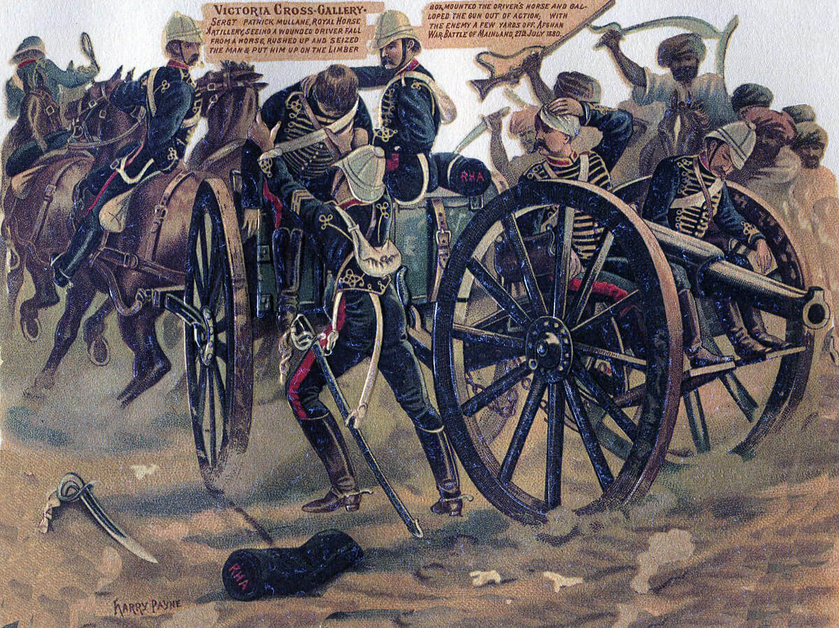 Sergeant Mullane of E/B Battery Royal Horse Artillery winning the Victoria Cross at the Battle of Maiwand on 26th July 1880 in the Second Afghan War: picture by Harry Payne