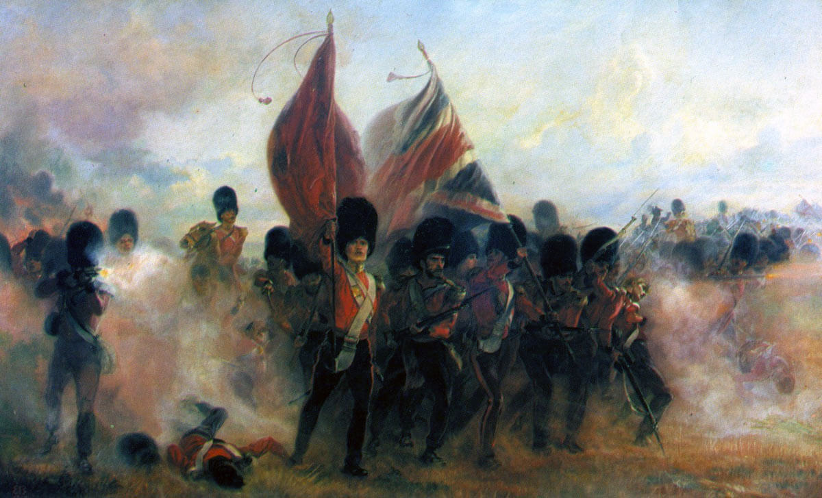 Colours of the Scots Fusilier Guards at the Battle of the Alma on 20th September 1854 during the Crimean War: picture by Lady Butler
