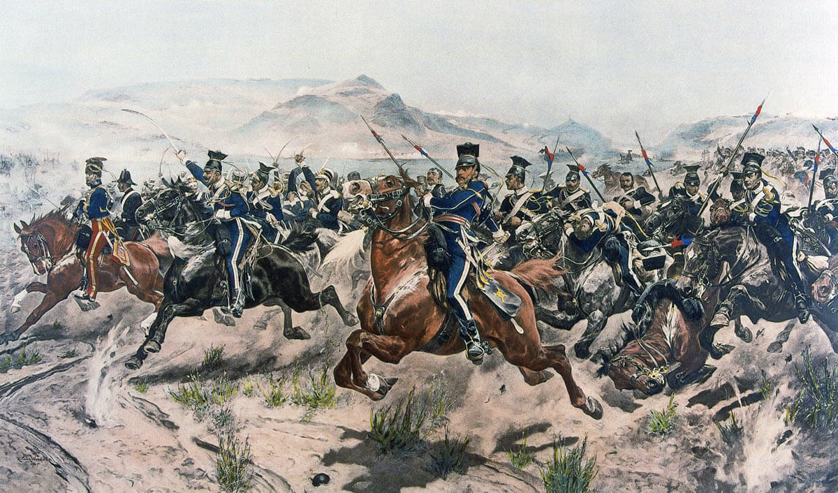 Charge of the Light Brigade (17th Lancers) at the Battle of Balaclava on 25th October 1854 in the Crimean War: picture by Richard Caton Woodville