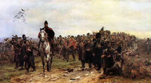 20th Regiment and Foot Guards returning from the Battle of Inkerman on 5th November 1854 in the Crimean War: picture by Lady Butler