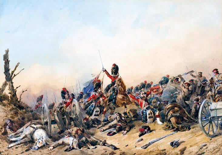 Black Watch at the Battle of the Alma on 20th September 1854 during the Crimean War: picture by Orlando Norie