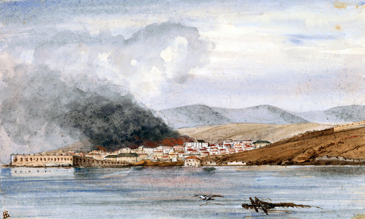 Sevastopol burning on 30th September 1855: Siege of Sevastopol September 1854 to September 1855