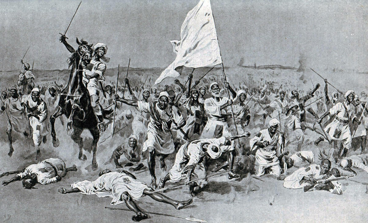 First Dervish attack at the Battle of Omdurman on 2nd September 1898 in the Sudanese War: picture by Frank Dadd