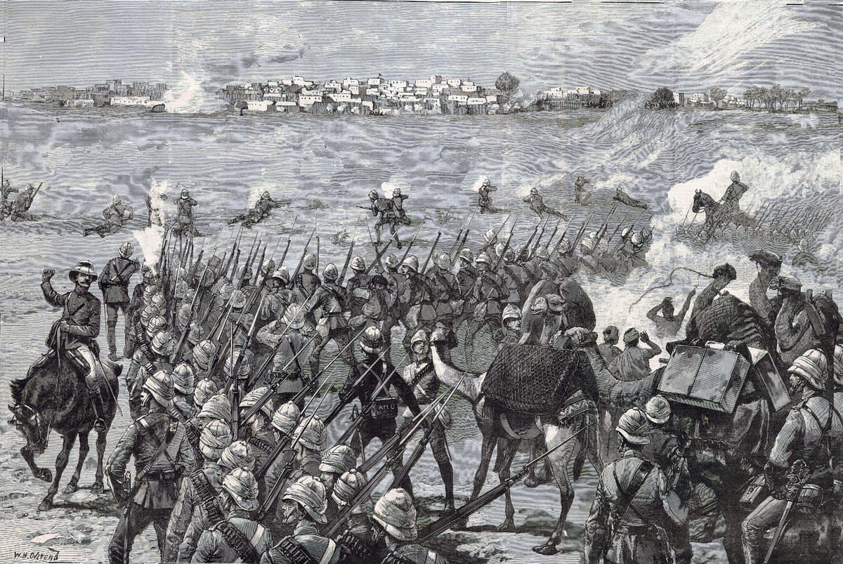 Battle at Gubat or Abu Kru, two days after the Battle of Abu Klea on 17th January 1885 in the Sudanese War: picture by W.H. Overend