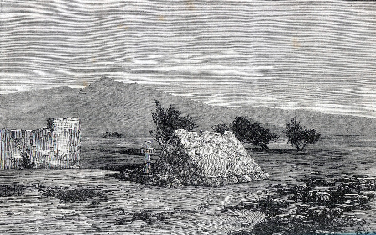 Graves of soldiers of the 66th Regiment after the Battle of Maiwand on 26th July 1880 in the Second Afghan War