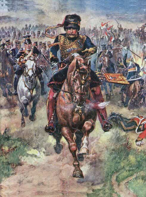 Lord Cardigan leads Charge of the Light Brigade at the Battle of Balaclava