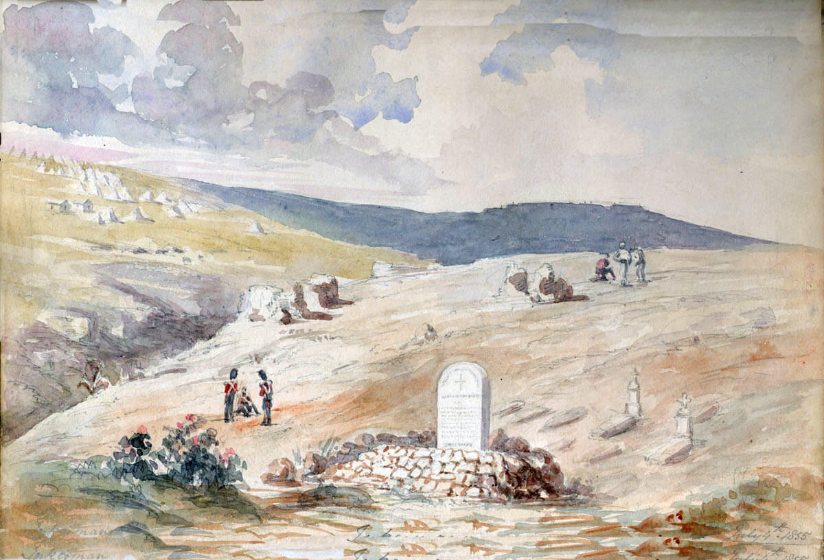 Graves from the Battle of Inkerman on 5th November 1854 in the Crimean War; picture by Lieutenant Colonel Dawkins of the Coldstream Guards