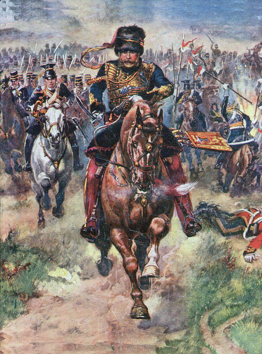 Lord Cardigan leading the Light Brigade at the Battle of Balaclava on 25th October 1854 in the Crimean War: picture by Harry Payne