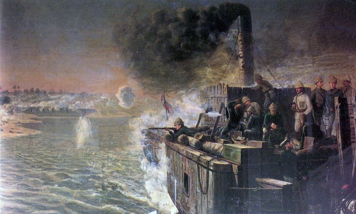 Lord Charles Beresford on the Nile Steamer 'Safia' after the Battle of Abu Klea on 17th January 1885 in the Sudanese War: picture by the Dickinson Brothers