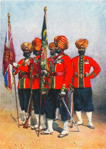 Colour Party 15th Ludhiana Sikhs: Battle of Ahmed Khel on 19th April 1880 in the Second Afghan War: picture by A.C. Lovett