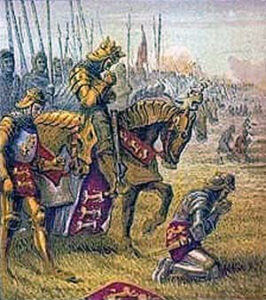 King Henry V prays with his army before the Battle of Agincourt on 25th October 1415 in the Hundred Years War
