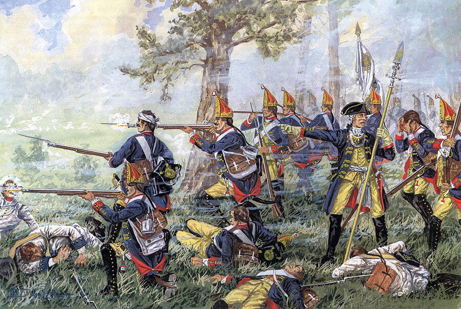 Grenadier Guard Battalion of Einsiedel No. 6 at the Battle of Hohenfriedberg 4th June 1745: Battle of Hohenfriedberg 4th June 1745 in the Second Silesian War: picture by Gemälde von Gϋnter Dorn.