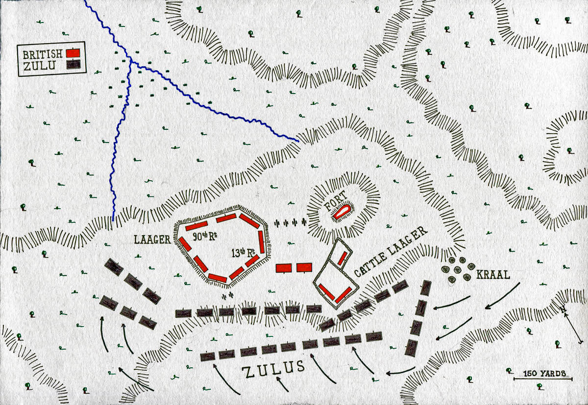 Map of the Battle of Khambula on 29th March 1879 in the Zulu War: map by John Fawkes