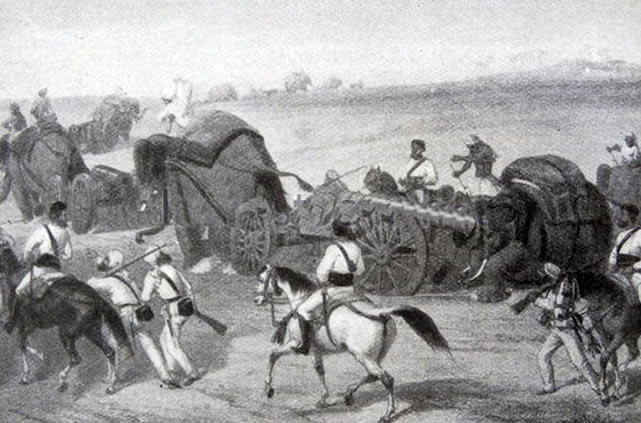 British/Bengali Army on the march: Battle of Ferozeshah on 22nd December 1845 during the First Sikh War