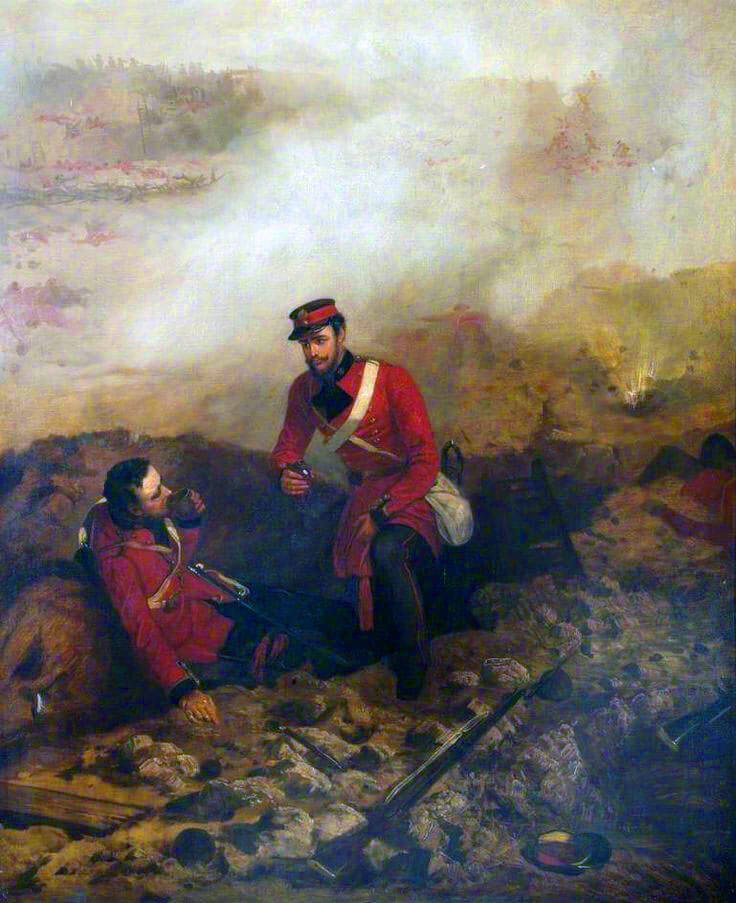 Lieutenant William Hope of 7th Royal Fusiiers winning the Victoria Cross by coming to the aid of his adjutant Lieutenant Hobson: Siege of Sevastopol September 1854 to September 1855 in the Crimean War: picture by Louis Desanges