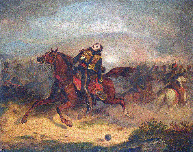Death of Captain Lewis Nolan in the Charge of the Light Brigade at the Battle of Balaclava on 25th October 1854 in the Crimean War: picture by Thomas Jones Barker