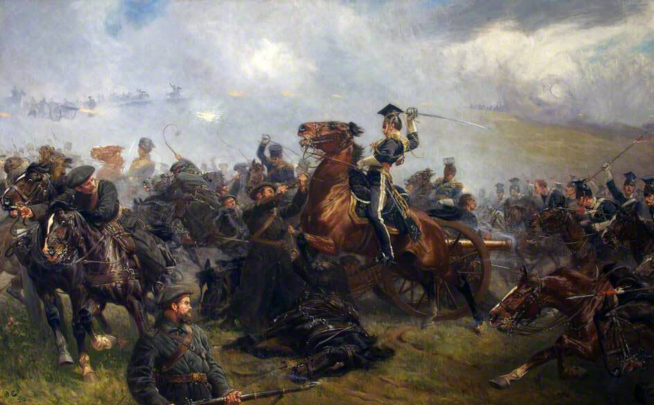 Captain Godfrey Morgan of 17th Lancers on 'Sir Briggs' in the Charge of the Light Brigade at the Battle of Balaclava on 25th October 1854 in the Crimean War