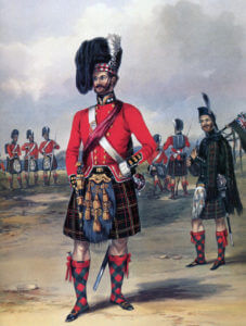 Officer of the 79th Highlanders: the Battle of the Alma on 20th September 1854 during the Crimean War: print by Ackermann